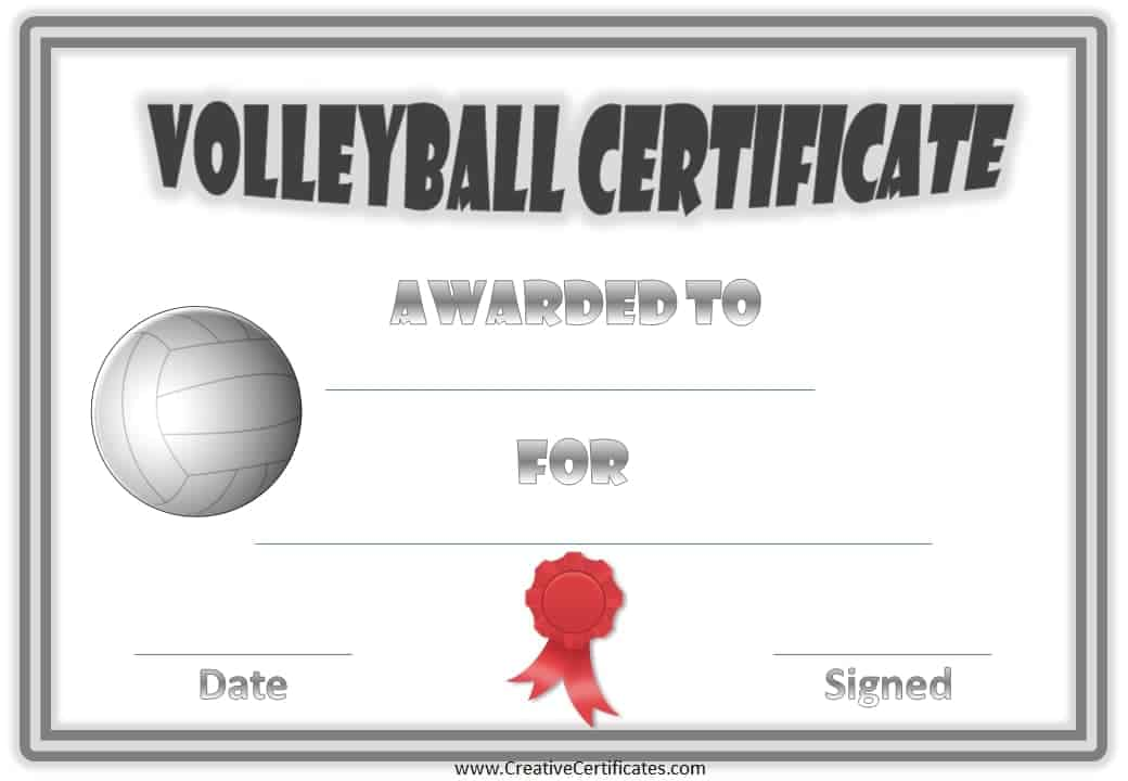 printable volleyball award certificate templates .