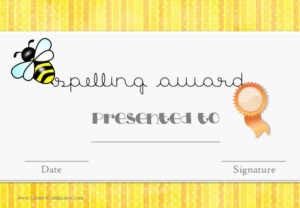 Spelling award for teachers to use in the classroom