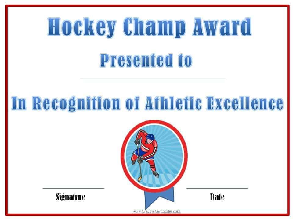 Wording: Hockey champ award – presented to – in recognition of ...